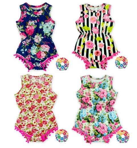 23ab5b91d 01) Girl First Birthday Outfit Baby Girl Navy Floral Pink Pom Pom Romper  Free Shipping