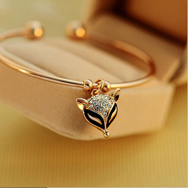Nuovo carino Flash Crystal Fox Bangle Classic Fashion Donna gioielli Exquisite Rose Gold Retro Bracelet Cute Fox Bangles for Women
