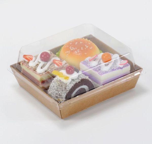 Scatole d'imballaggio della torta dell'hot dog del panino dell'insalata del contenitore 500pcs / lot con i coperchi trasparenti Contenitore di regalo di carta del cartone di Kraft