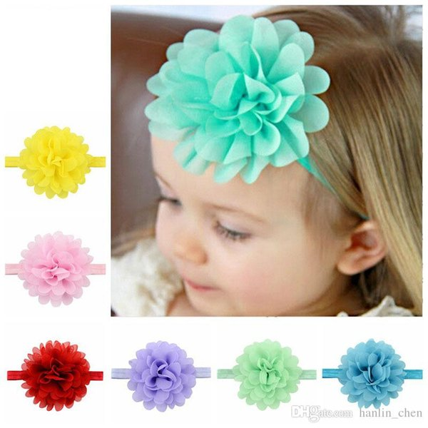 2018 New Arrival Mix Color Under $2 Girls Hot Chiffon Lotus Elastic Headbands 12 Colors Baby Hair Bands Infant Headdress Kids Accessorie 584