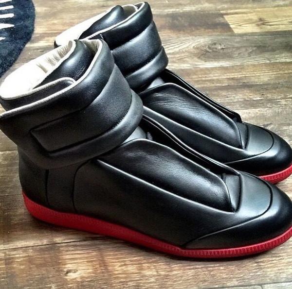 Prix 50% grande remise achat le plus récent Acheter Luxe Maison Martin Margiela High Top Sneakers Chaussures En Cuir  Pour Hommes Véritable MMM Loisir Chaussures Casual, Party Walking Flats  Shoes ...