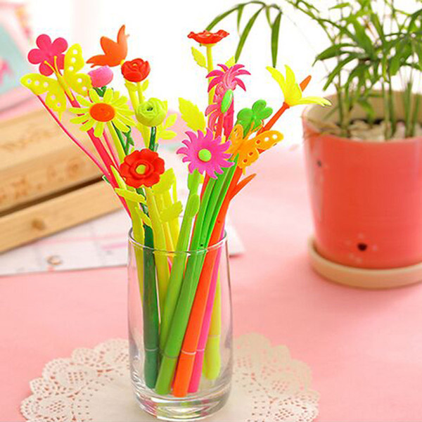 12pcs/1 lot Creative Sstationery Lucky Flora Flowers Pen Writing Pens Design Gel Pens Free Shipping Material Escolar