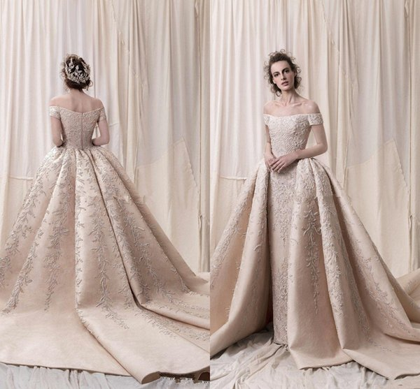 Arab Dubai off the shoulders ball gown heavily embroidery wedding dresses 2018 Krikor Jabotian Cathedral train castle bridal wedding gowns