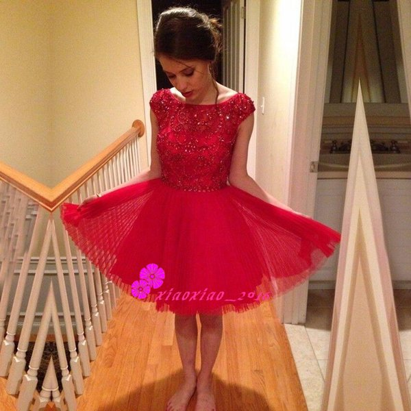 2016 Short Red 8th Grade Prom Dresses Mini Puffy Pleated Homecoming ...