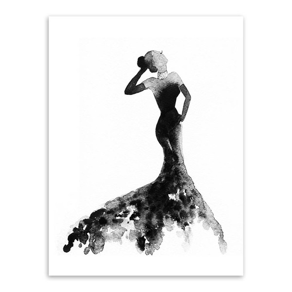 Modern Decoration Nordic Black White Fashion Model Large Canvas Art Print Poster Wall Picture Painting Beauty Girl Room Home Decor No Frame