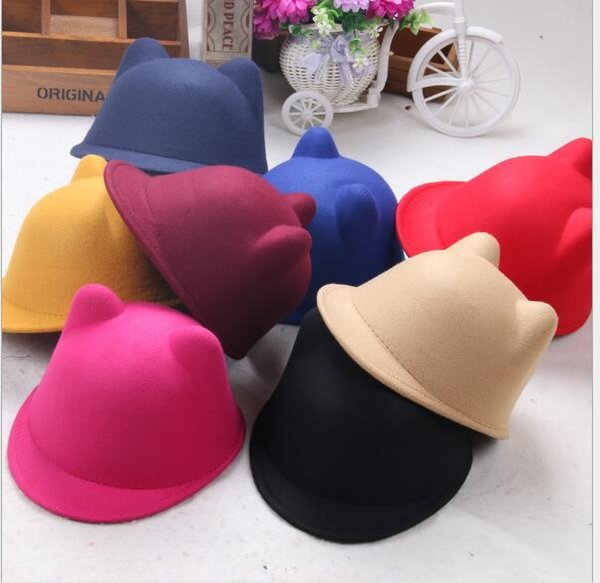 Fashion Fedora Vintage Women Wool England Cloche Hats Cat Ear Equestria Cap Winter Elegant Plain Bowler Derby Small Hat Ladies Hats By Alice