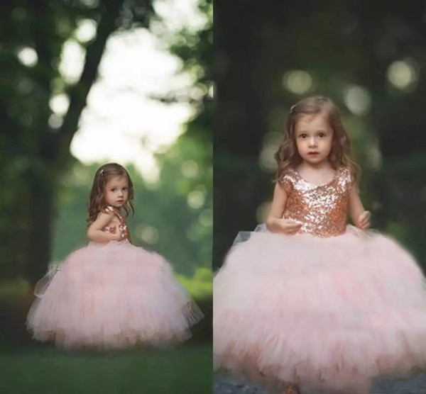 Communion Dress Rose Gold Sequins Blush Tulle Ball Gown Flower Girls' Dresses 2017 Cap Sleeve Puffy Little Girls Formal Wedding Party Dress