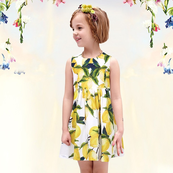 prettybaby Girls summer dress children Lemon floral printed sleeveless vest dress kids yellow dress free dhl shipping