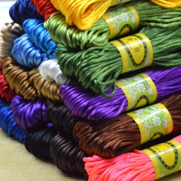 20 Meters/roll 2.5mm Satin Nylon Cord Shamballa Bracelet Jewelry Craft DIY Rattail Beading Chinese Knot Macrame Braided Thread Free Shipping