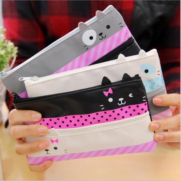 Al por mayor-1PCS más nuevo de la caja de lápiz de útiles escolares papelería de regalo gato lindo de alta capacidad de la caja del lápiz cremallera Pencilcase lápiz bolsa 0090
