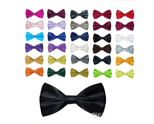 top popular Wholesale Men's Women's Bowtie Bow Tie Solid Colors Plain Silk Polyester Pre Tied Ties For Party Wedding 2020