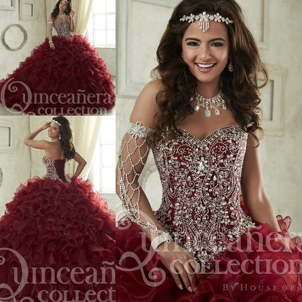 Maroon Quinceanera Dresses Sweep Train Tiered Cascading Ruffles Pageant Gown Luxury Crystal Corset Sweetheart 16 Masquerade Party Dress