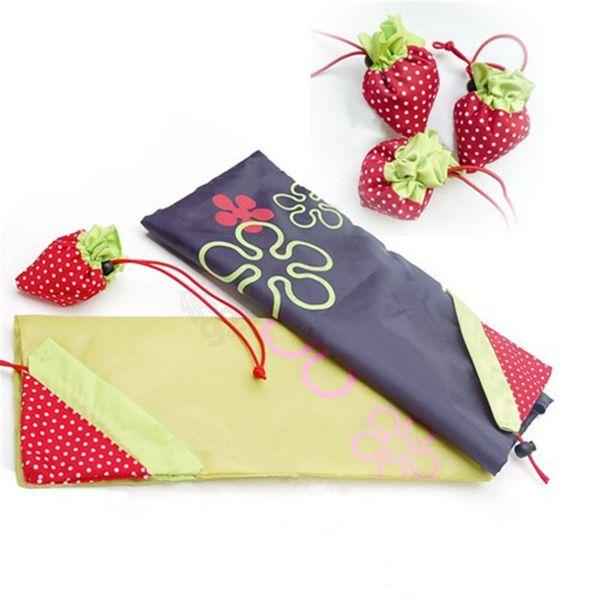 Wholesale-New Nylon Shopping Bag Folding Reusable Eco Grocery Tote Shopper Strawberry Storage Handbag Shopping Bags Random Color DP673841