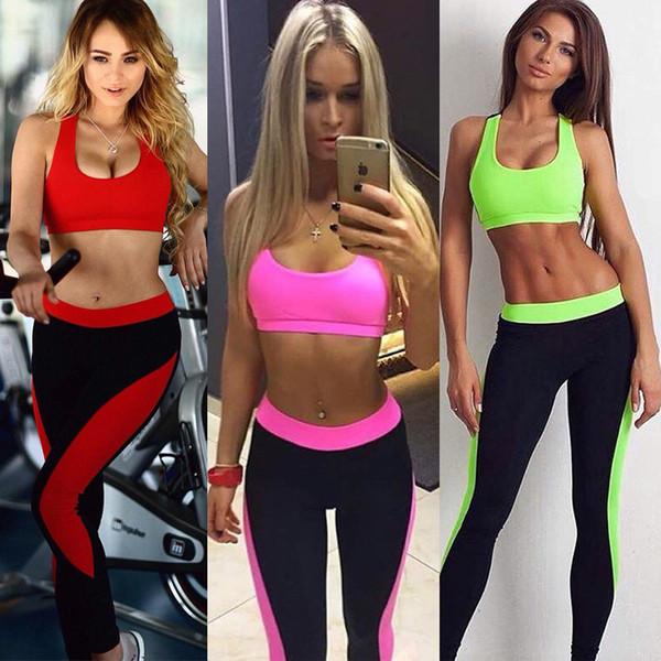 Großhandel Fitness Workout Kleidung Und Frauen Gym Sport Laufende Mädchen Dünne Gamaschen + Tops Frauen Yoga Sets BH + Hosen Sport Anzug Für Frauen
