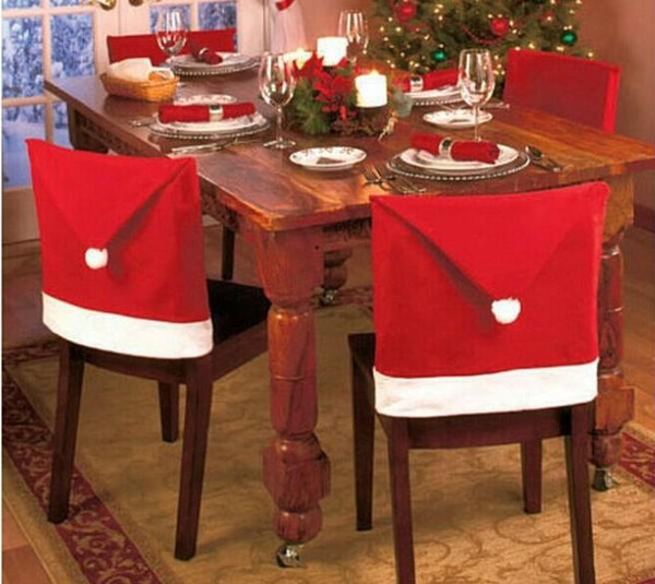 2016 New Fashion Santa Clause Red Hat Chair Back Cover Christmas Dinner Table Party Decor For Christmas