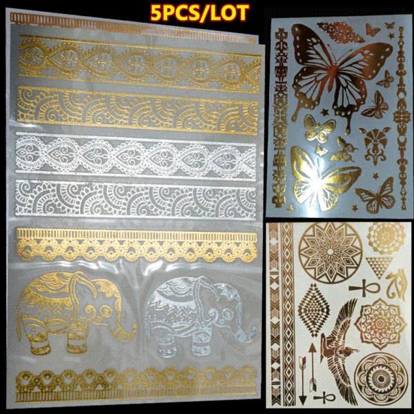 5 piece/lot gold foil tatoo temporary golden decal women men body art wings bird feather temp metallic tattoo stickers