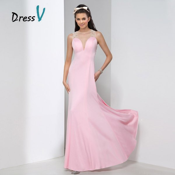 Fashionable Pink Backless Evening Dresses 2019 New A-Line Sheer Long Prom Gowns Beading Pearls Plus Size Formal Dress Robe de soiree