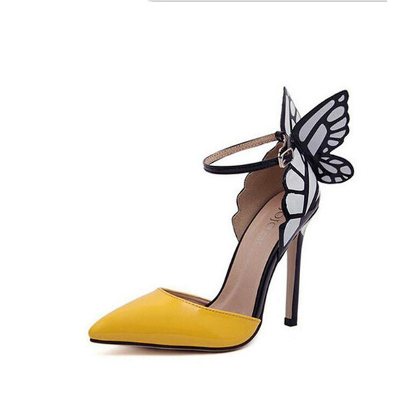 Mujer 2016 Marca Mujeres Zapatos Tacones altos Mariposa Zapatos Bombas de punta estrecha Zapatos de boda Sandalias envío gratis
