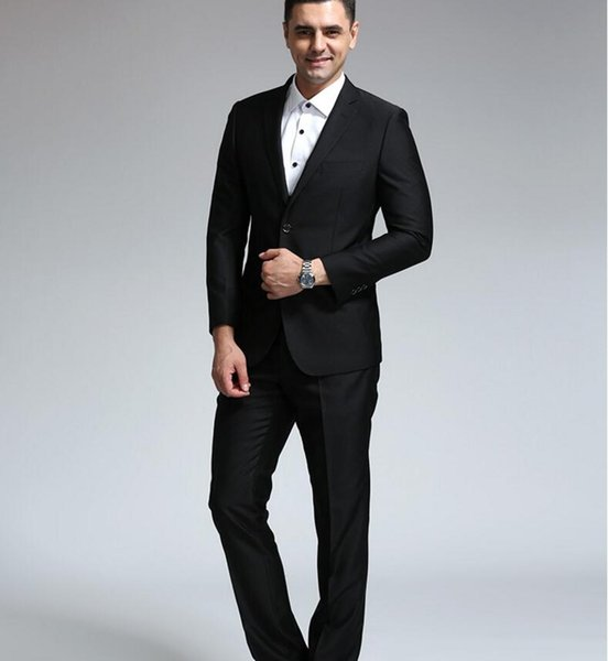 New styles of men's tailored suit elegant fashion high quality pure black two-piece fashionable man business suit (jacket + pants)