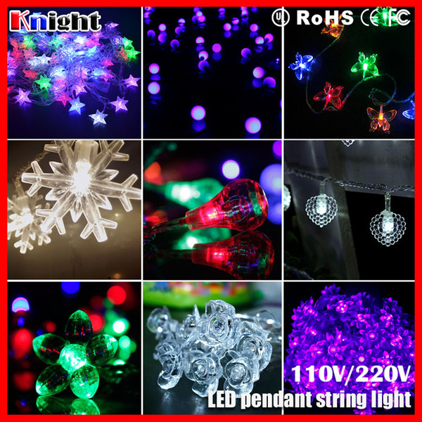 10m 100led ornament string lamp,frosted bulb ball cherry rose heart star waterdrop snowflake holiday decor icicle pendant lights 2sets a lot