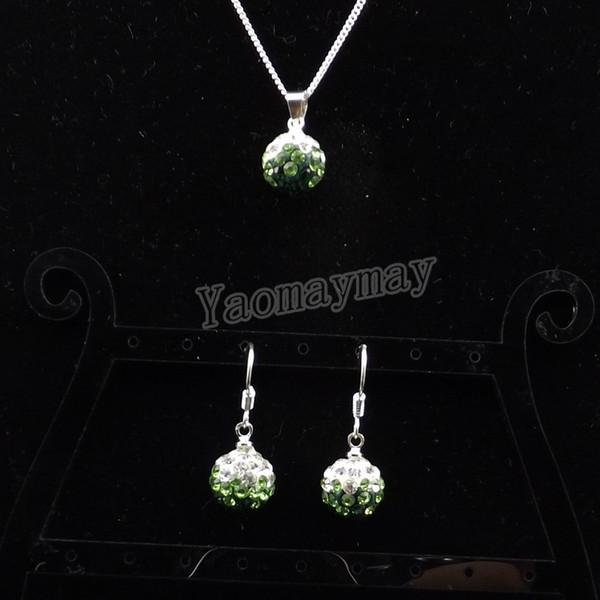 Wholesale 10 Sets Rhinestone Jewelry Set Gradient Green Disco Ball Pendant Earrings And Necklace For Women