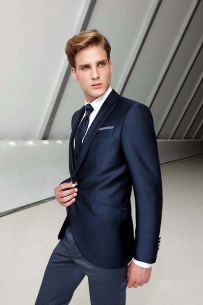 Новая Мода Slim Fit Мужчины Свадебные Костюмы (Куртка+Брюки+Жилет) 3 Шт. Жених Смокинги Жениха Шафер Костюмы На Заказ Мужчины Свадебные Костюмы