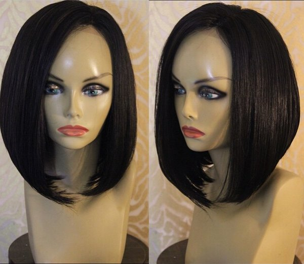 Free Shipping In Stock Brazilian Virgin Hair short bob Glueless Full Lace Human Hair Wigs Straight bob style lace front wig with baby hair