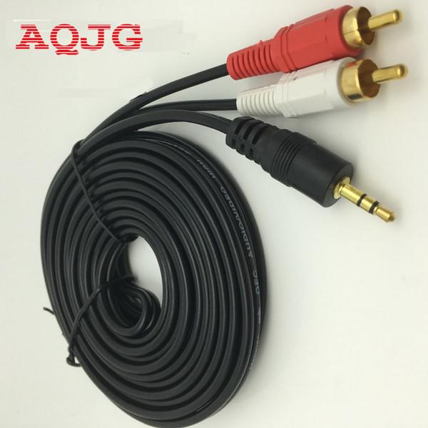 Großhandel-3,5 mm Klinkenstecker zu AV 2 Cinch-Stecker Stereo Musik Audio Kabel AUX für MP3-Pod Telefon TV-Sound-Lautsprecher 1,5 m 3 m 5 m 10 m 15 m 20 m
