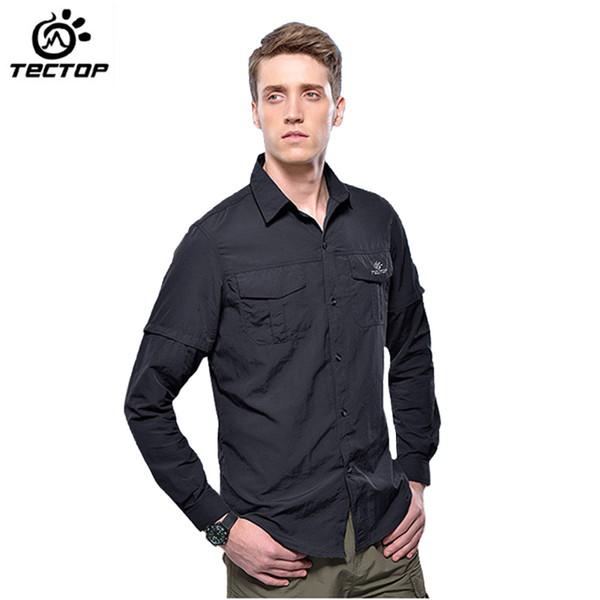 Wholesale-TECTOP Marka Yeni Yaz Açık Erkek Çıkarılabilir Hızlı Kuru Nefes Taktik Gömlek Yürüyüş Kamp Balıkçılık Erkek Tırmanma Camisa