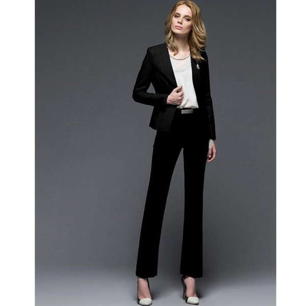 Women Pant Suits 2 Piece western style formal business suits OL suits long-sleeved two-piece blended women winter ladies suit