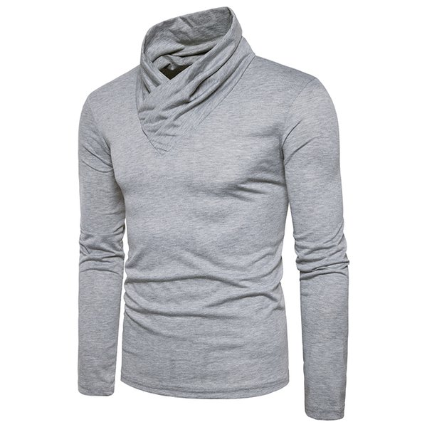 2017 autumn winter new men's solid color long-sleeved warm sweater sweater high collar large size T-shirt