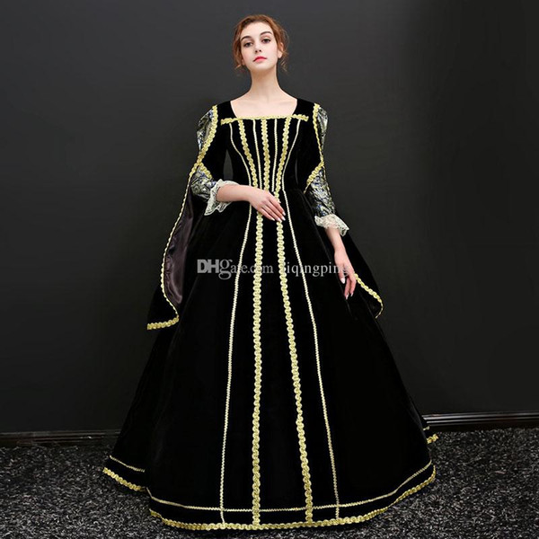 High Quality 2017 Black and Gold Mesh Square Collar Cinderella Long Dress French court costume For Women