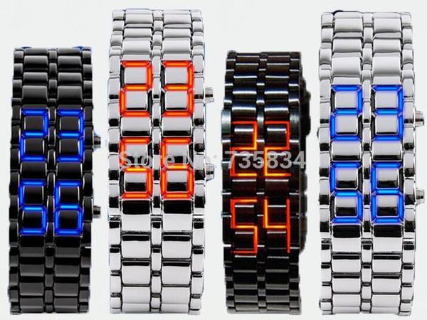 Atacado 100 pçs / lote Mix 4 cores NOVO Estilo de Metal Lava LED Ferro Samurai Assista Homens Mulheres estilos clássicos moda relógios LL002