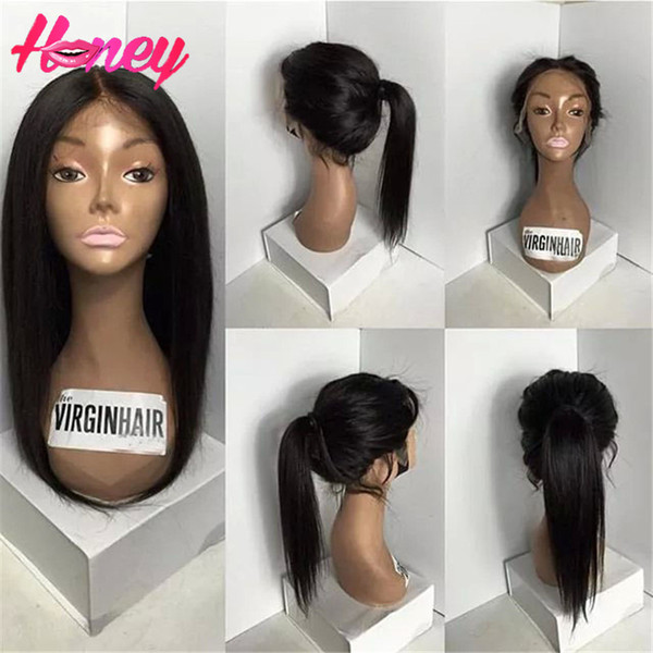 Silky Straight Full Lace Human Hair Wigs Glueless Full Lace Front Wigs With Ponytail Brazilian Virgin Hair Wigs For Black Woman