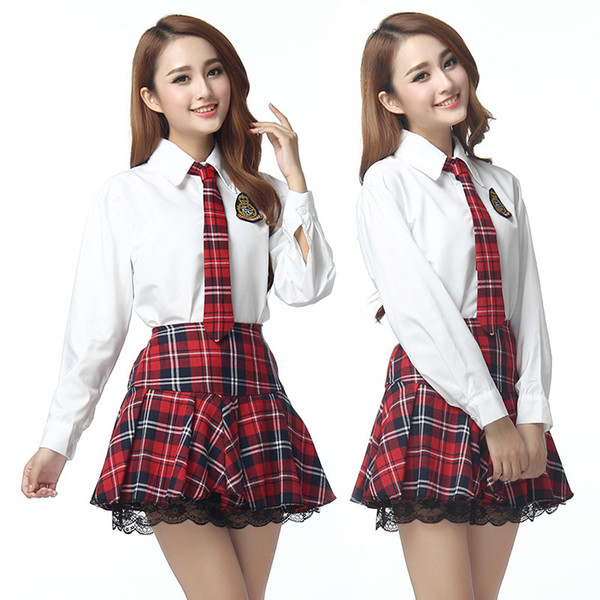 best selling plus size 3XXXL lingerie school girl cosplay long sleeve sexy costumes sexy student uniform tie big size sexy lenceria top women