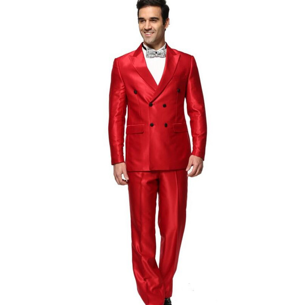 Latest handsome groom suit chic double-breasted men custom fashion pure red suit (jacket + pants) high quality PROM dresses