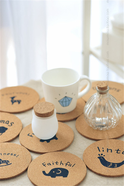 Wholesale- Wooden Coaster in set of 4pcs round shape HP4 for mug cup bottle mats and pad for home kitchen and dining decoration 10x0.5cm