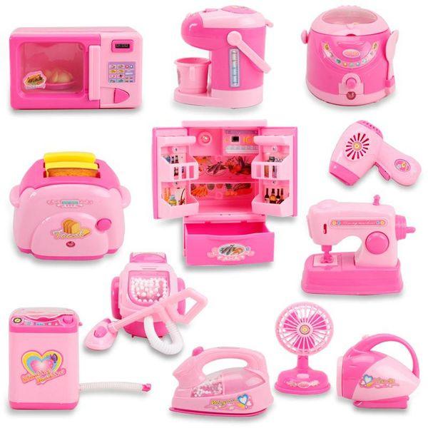 I mini apparecchi dei bambini giocano le caratteristiche elettriche di illuminazione elettrica di simulazione del giocattolo della cucina del frigorifero delle ragazze dei giocattoli della casa DHL libera il trasporto