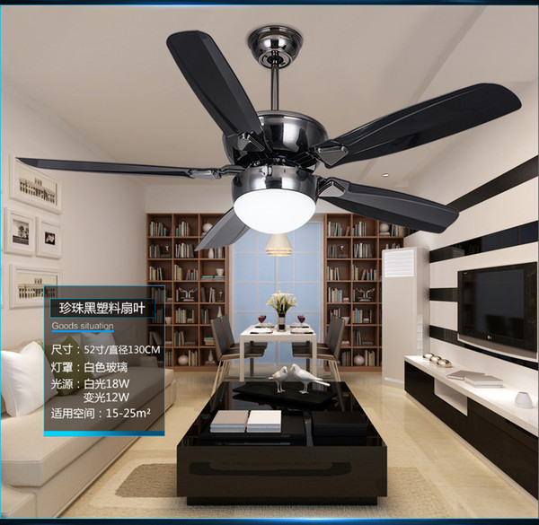 DC inverter LED 52inch fan ceiling light minimalism modern dining room fan light ceiling living room fan ceiling with remote control