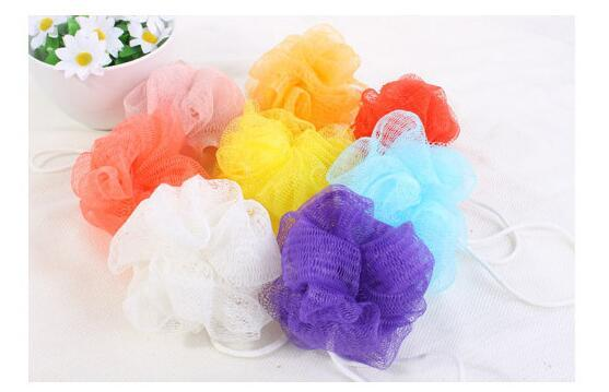 best selling High Quality Mesh Pouf Sponge Bathing Spa Shower Scrubber Ball Colorful Bath Brushes Sponges
