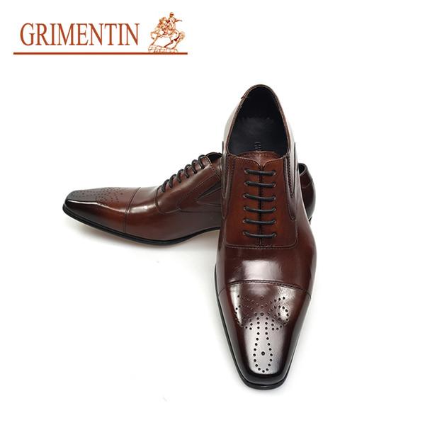 GRIMENTIN Hot sale Italian fashion formal mens dress shoes black brown men oxford shoes genuine leather business wedding men shoes size:11