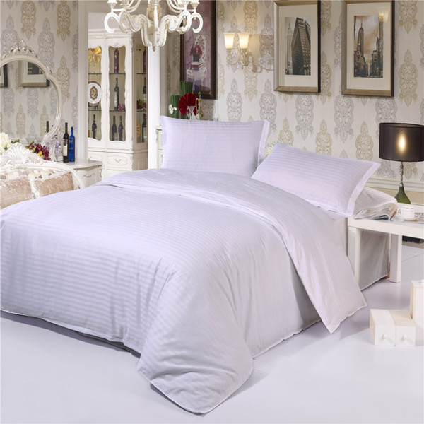 Wholesale- 100% Cotton Damask Stripe 3pc/4pc bedding sets(duvet cover+ flat sheet+ pillowcase) twin full queen king Hotel Solid bedsheet