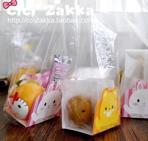 Plástico 40 Pçs / lote Sacos De Plástico Transparente E Animal Dos Desenhos Animados Embalagem de Cartão De Papel Bolsas Bolsas Envoltórios Cupcake Frete Grátis Aniversário