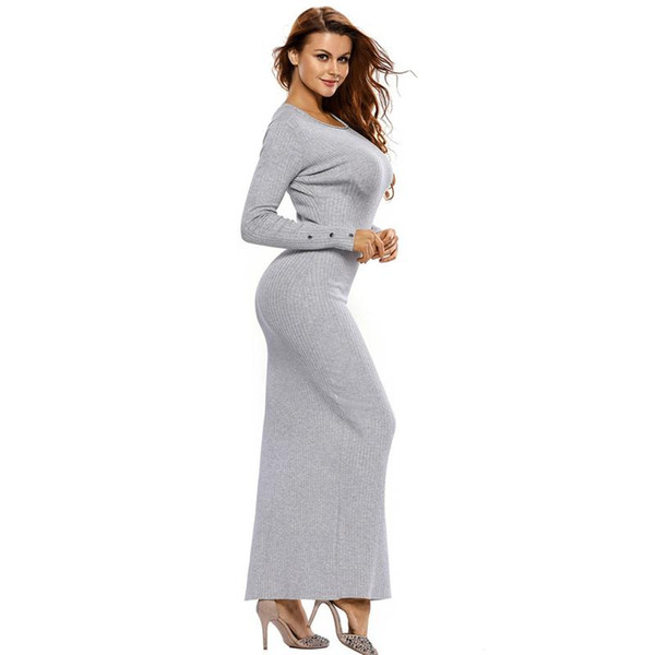 Women Sweaters Maxi Dresses For Winter Casual Knitted Long Sleeve Sweater  Dress With O Neck Fashion Buttons Female Long Clothes Gray Khaki Graduation