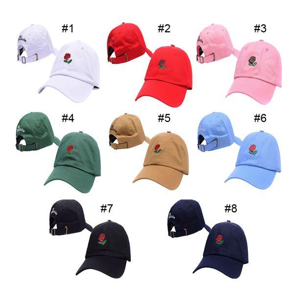 best selling Outdoor Rose Strap Back Cap Adjustable Golf Snapback Unisex Baseball Sun Hip-Hop Hats 8 Colors 2503034