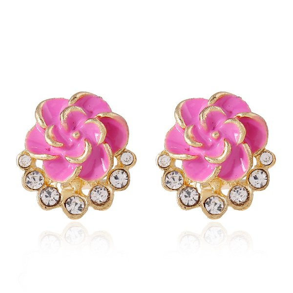 Hot Selling Fashion Rose Flower Boutique Earrings Women Epoxy Crystal Stone Stud Dark Pink/White/Black Earrings Free Shipping