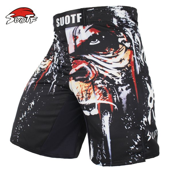 top popular Suotf Mma Boxing Sports Men Orangutan Patterns Personality Breath Large Fitness Thai Boxing Shorts Tiger Muay Thai Kickboxing 2019