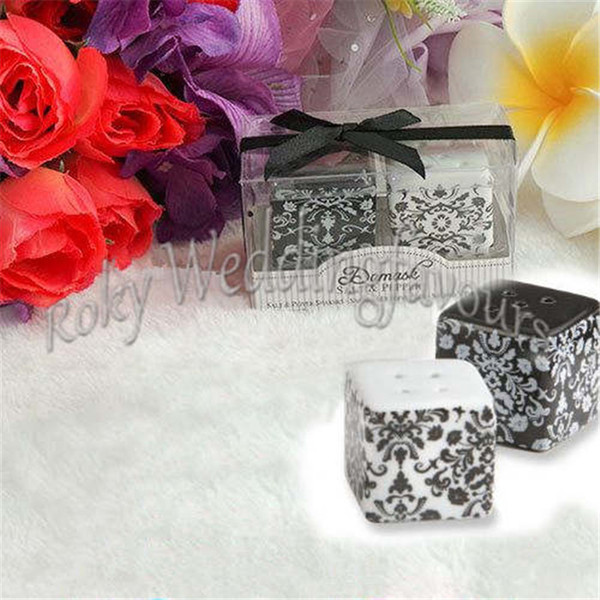 FREE SHIPPING 400PCS=200Sets Ceramic Damask Salt & Pepper Shaker Wedding Favors Birthday Party Gifts Bridal Shower Souvenirs Decoration Idea
