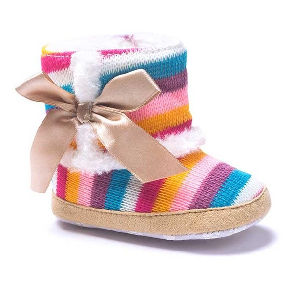 2016 New Baby Boots Colorful Rainbow Bars Warm Knitting Wool Fur Linning Lace Bowknot Anti-slip Soft Sole