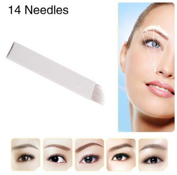 best selling 50 PCS 14Pin Permanent Makeup Manual Eyebrow Tattoo Needles Blade For 3D Embroidery Microblading Tattoo Pen Machine